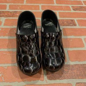 Dansko Black Silver Marbled Slip On Clogs Shoes